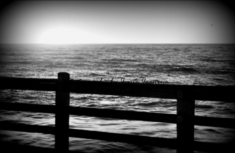 Sunset Waves in Black and White